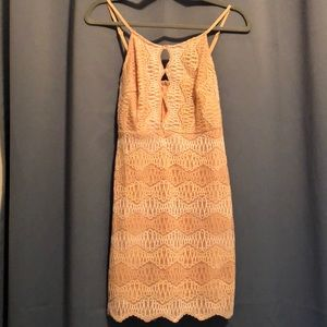 Peach/white lace dress with keyhole front. Size S